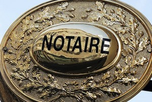 PHOTO CLAUDE PRIGENT/ LE TELEGRAMME. MORLAIX (29) : Plaque de notaire .